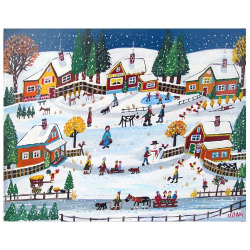 Ilona Fekete painting of a winter scene.