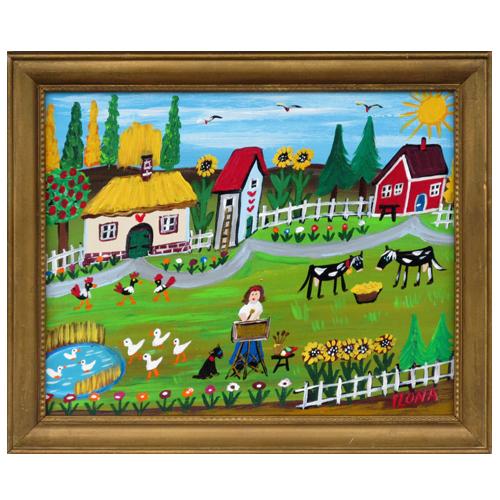 "Ilona Fekete folk art painting ""Life as an Artist."""