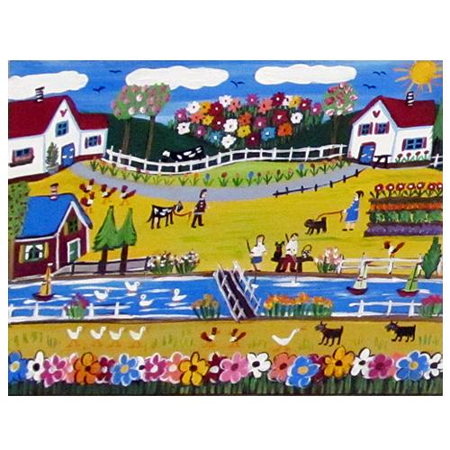 "Ilona Fekete folk art painting ""Spring."""