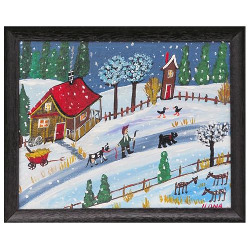 """Ilona Fekete folk art painting """"Going Home."""""""