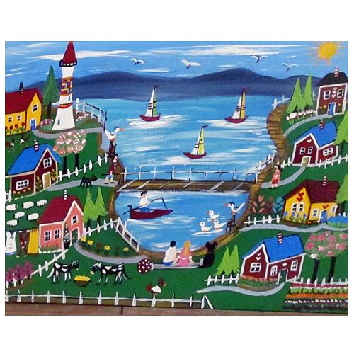 "Ilona Fekete folk art painting ""Good Old Summertime."""