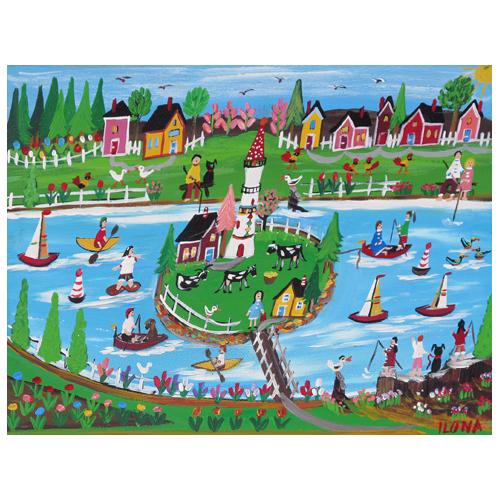 "Ilona Fekete folk art painting ""Gone Fishing."""