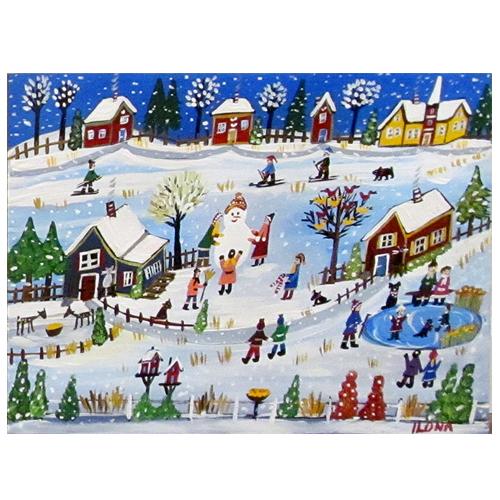 "Ilona Fekete folk art painting ""Country Winter."""