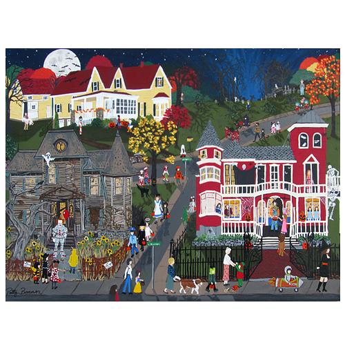 "Patty Bonner painting ""It's Halloween."""