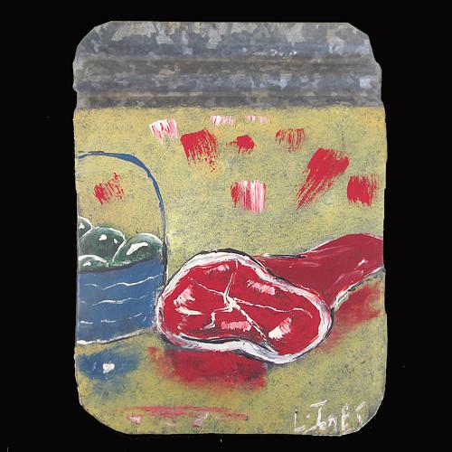 Painting of green eggs and ham by self-taught artist Leonard Jones.