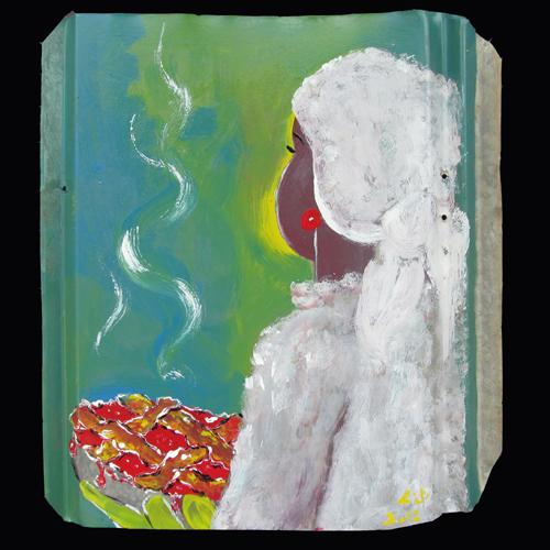 Painting of pie baking by self-taught artist Leonard Jones.